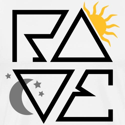 RAVE Minimal Text Sonne Mond Sterne Symbole - Männer Premium T-Shirt