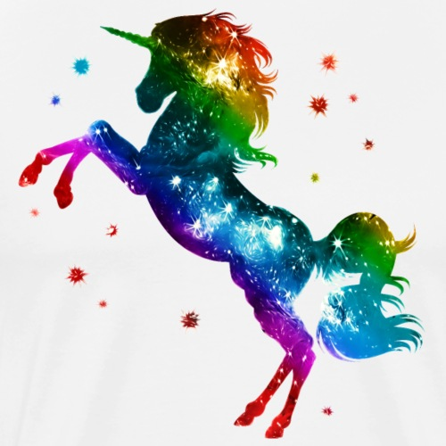 Einhorn unicorn Regenbogen Festival Party Sterne - Männer Premium T-Shirt