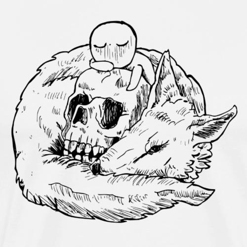 le loup et le crâne - T-shirt Premium Homme