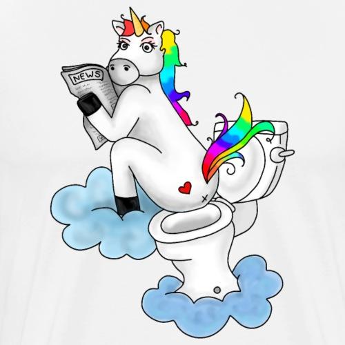 Einhorn Klo Toilette | Humor Fabel Regenborgen - Männer Premium T-Shirt