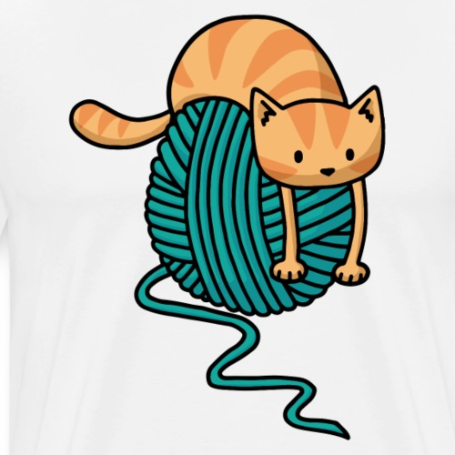 Cat on a Ball of Yarn - Men's Premium T-Shirt
