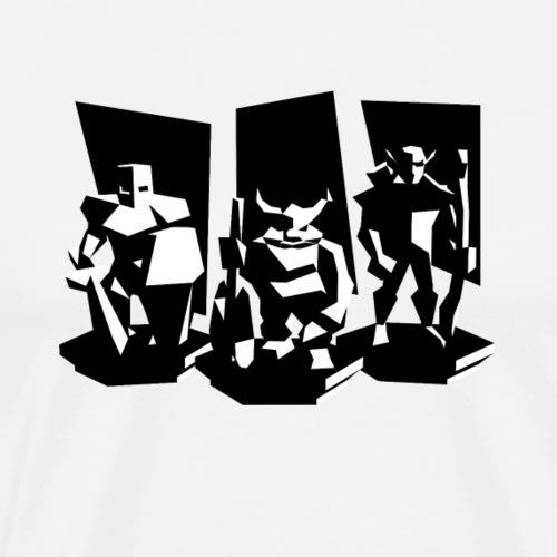 Low Poly Fantasy B&W - Männer Premium T-Shirt