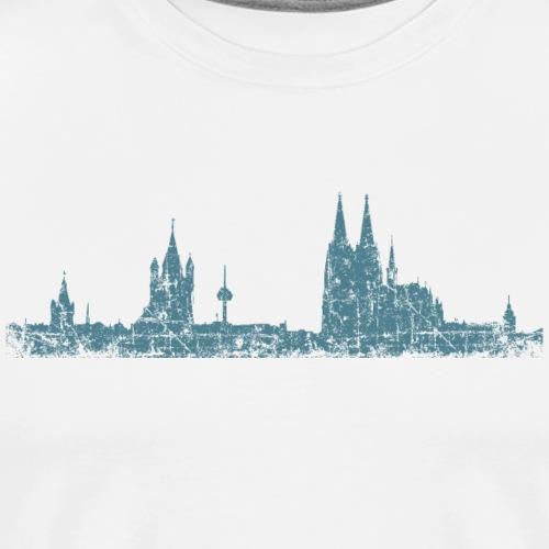 Stadt Köln Kölner Skyline (Vintage Blau) - Männer Premium T-Shirt