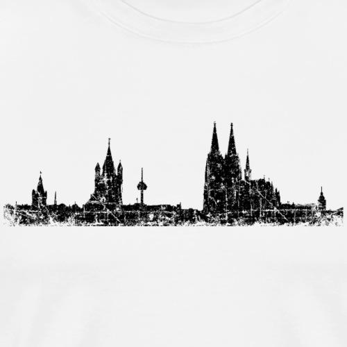 Stadt Köln Kölner Skyline (Vintage Schwarz) - Männer Premium T-Shirt
