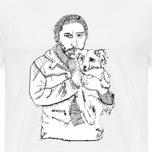 Mann mit Hund auf dem Arm - Männer Premium T-Shirt