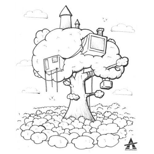 Cabane dans un arbre Sketch Line - T-shirt Premium Homme