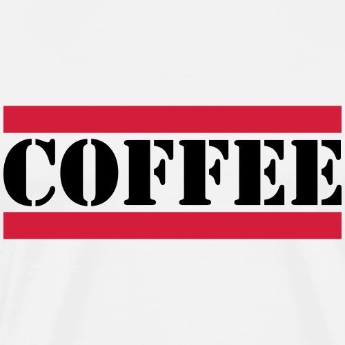 coffee Schriftzug mit roten Linien - Männer Premium T-Shirt
