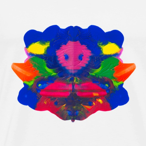 Tintenklecks mit Grusel-Alien in der Mitte