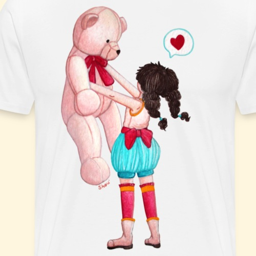 Fille au Nounours géant - T-shirt Premium Homme