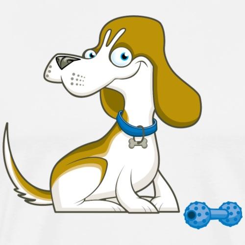Happy Beagle and Toy - Men's Premium T-Shirt