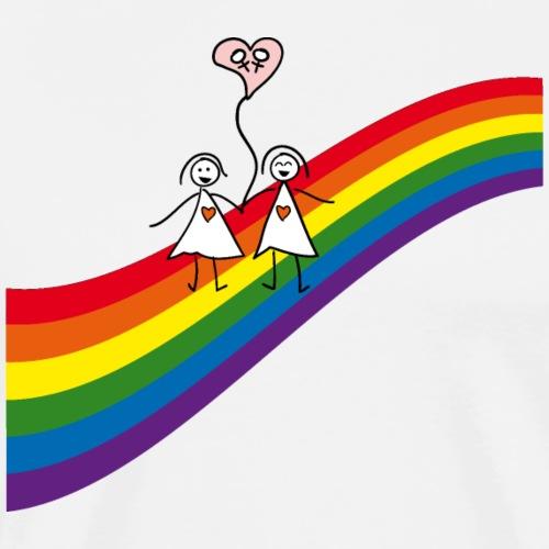 Regenbogen Frauenpaar - Männer Premium T-Shirt