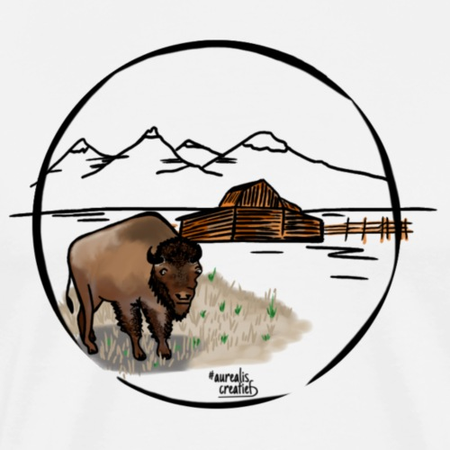 Bison à l'état sauvage - Wyoming USA - T-shirt Premium Homme
