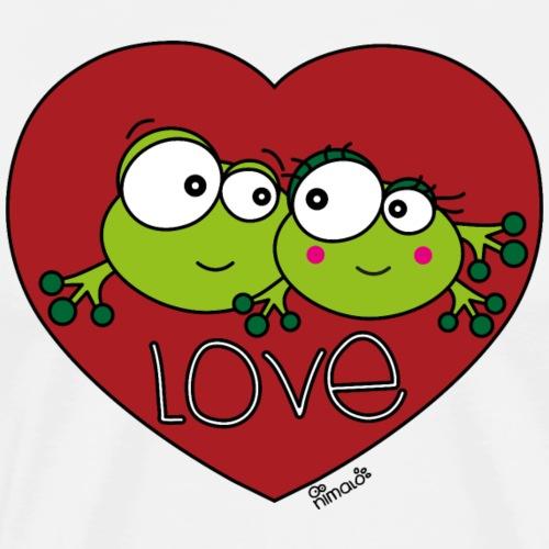 Grenouilles Frogs, Love, St. Valentin, couple - T-shirt Premium Homme