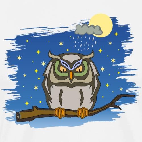 Eule Uhu Nacht Vollmond Regen Wolke Sterne Himmel - Men's Premium T-Shirt