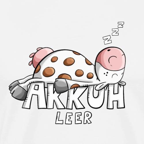 Akkuh leer I Müde Kuh Wortspiel - Männer Premium T-Shirt