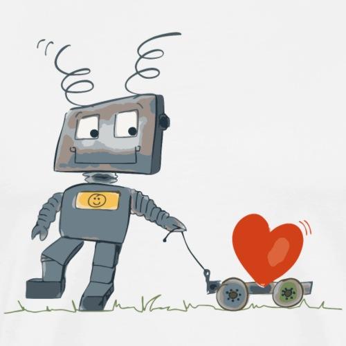 Roboter | cute robot with heart - by irk - Männer Premium T-Shirt