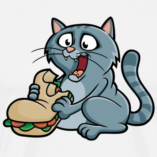 Big Fat Cat Eating a Sandwich - Men's Premium T-Shirt