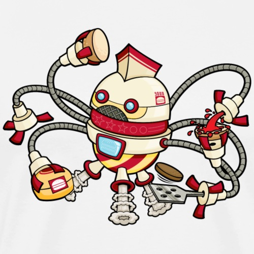Robot Fast Food Burger Flipper - Men's Premium T-Shirt