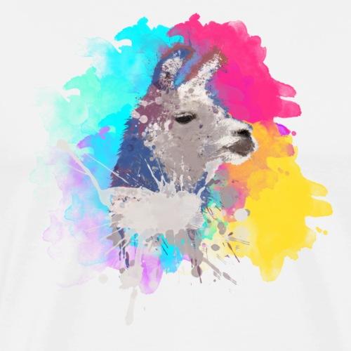Colorful Llama - Herre premium T-shirt