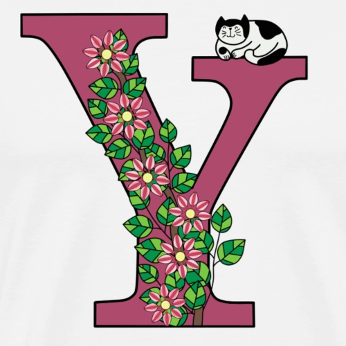 Letter Y with cat and flowers - Men's Premium T-Shirt