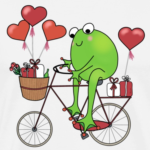 Valentine frog on bike - Men's Premium T-Shirt