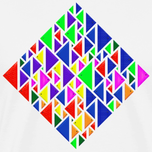 A square school of triangular coloured fish - Men's Premium T-Shirt