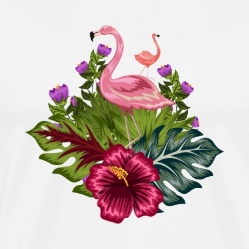 flamant rose fleurs tropicales - Men's Premium T-Shirt