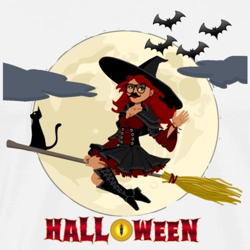 Halloween - Hexe auf Besen - Männer Premium T-Shirt