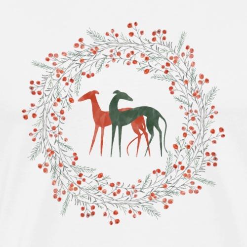Windhunde im Winterkranz - Männer Premium T-Shirt