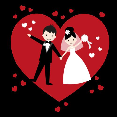 Hochzeitspaar mit vielen Herzen - Rot