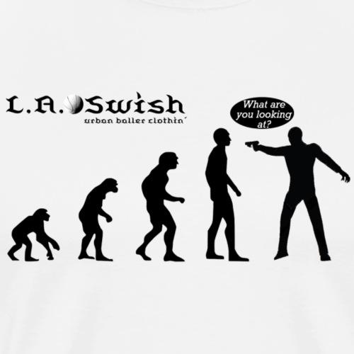 what r u lookin at black logo - Männer Premium T-Shirt