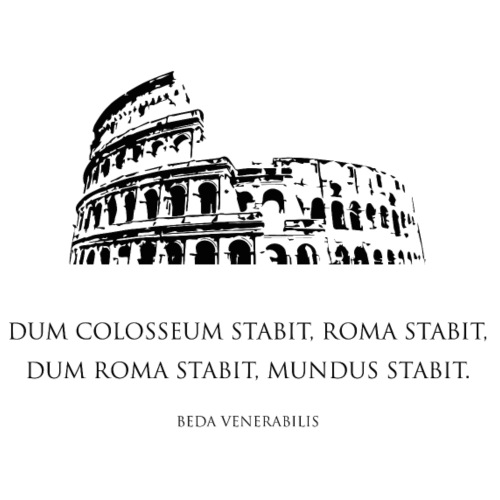 colosseo romano, Roma, con citazione latina, nero - Maglietta Premium da uomo