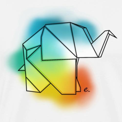 Eléphant en origami - T-shirt Premium Homme