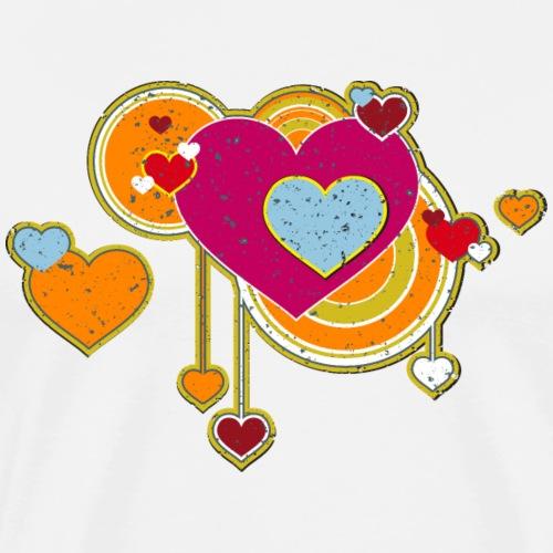 Liebe love Herzen hearts retro grunge Valentinstag - Men's Premium T-Shirt