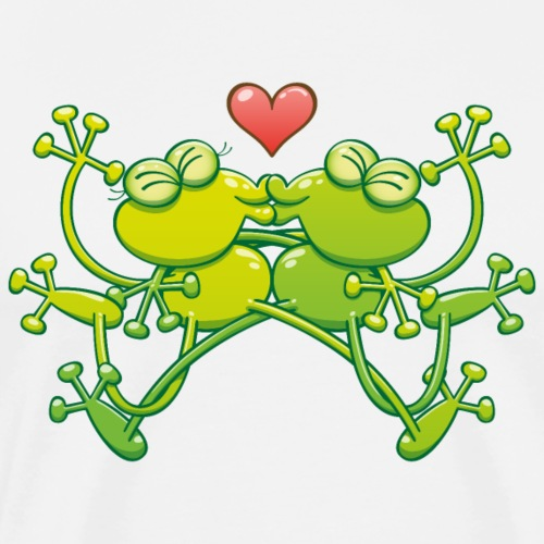 Amorous frogs kiss passionately - Men's Premium T-Shirt