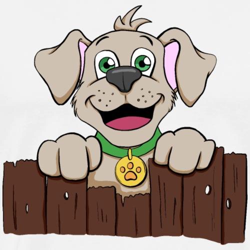 Kleiner Hund schaut über Zaun - Männer Premium T-Shirt