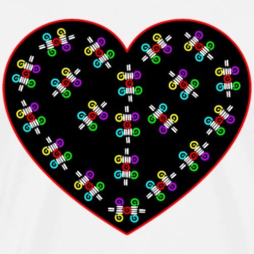 Herz, Herz mit Muster, Liebesherz, Herz umrandet - Männer Premium T-Shirt