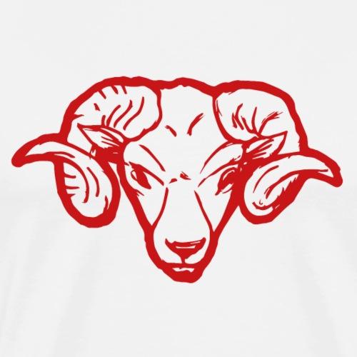 Roter Widderkopf Rammbock Geschenkidee Teufel - T-shirt Premium Homme