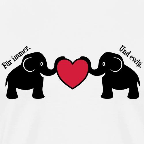 Elefanten Liebe Herz Immer Ewig Verliebt - Männer Premium T-Shirt