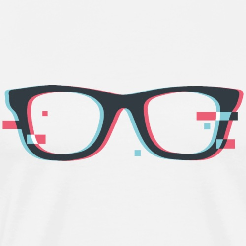 Brille Hipster Glitch 3D - Männer Premium T-Shirt