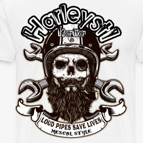 Harleysti Italia - Loud Pipes Save Lives - Maglietta Premium da uomo
