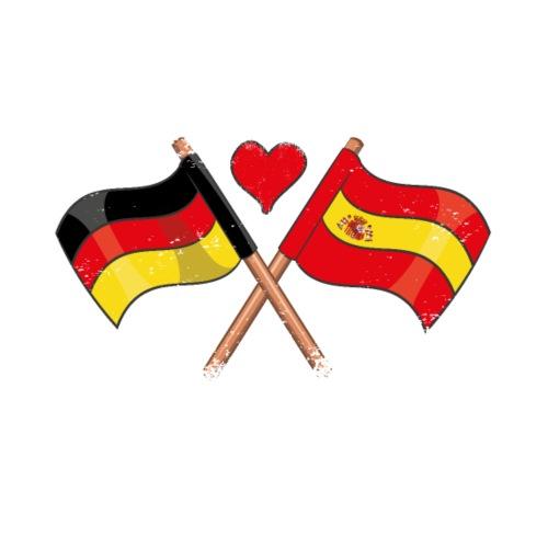 Ich Liebe Deutschland Spanien Flagge Herz Fahne - Männer Premium T-Shirt
