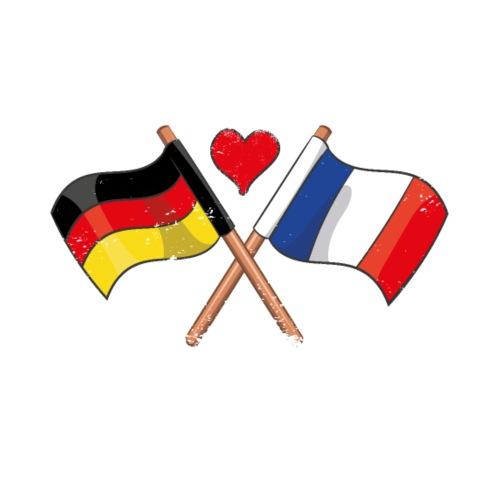 Ich Liebe Frankreich Deutschland Flagge Herz Fahne - Männer Premium T-Shirt