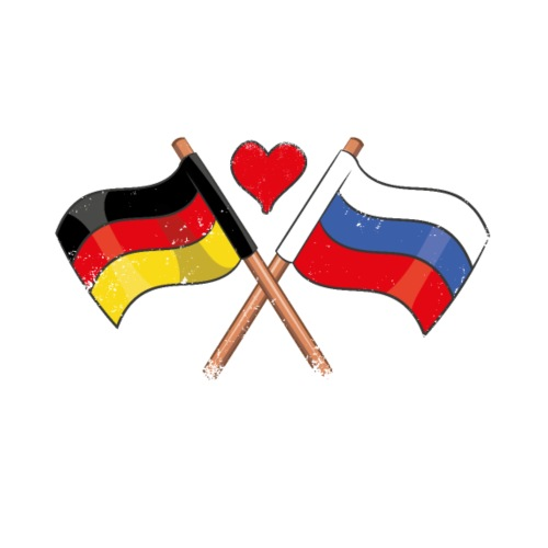 Ich Liebe Russland Deutschland Flagge Herz Fahne - Männer Premium T-Shirt