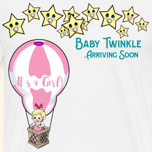 Baby Shower Baby Twinkle Girl in Hot Air Balloon - Men's Premium T-Shirt