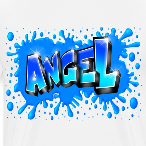Angel graffiti name with splashs of color - T-shirt Premium Homme