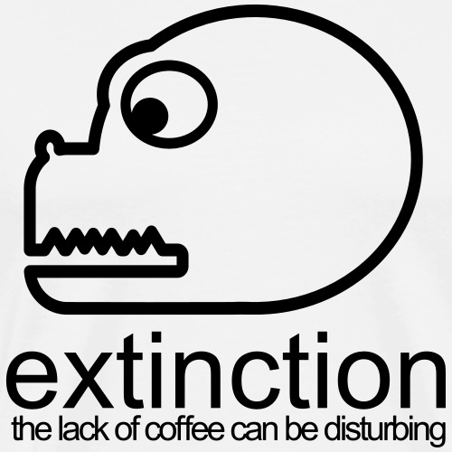 Dinosaur extincty by lack of coffee - T-shirt Premium Homme