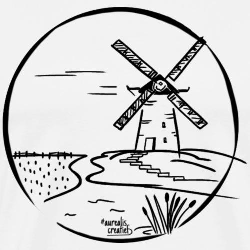 Dessin au stylo moulin à vent hollandais - T-shirt Premium Homme