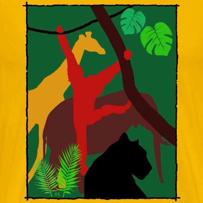 Dschungel - Panther-Affe-Elefant-Giraffe