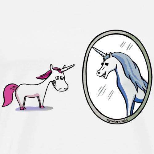 Unicorn in front of mirror - Men's Premium T-Shirt